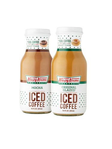 Inspired by the signature blends and flavors available at its world famous doughnut and coffee shops,  Krispy Kreme's great tasting iced coffees are coming to consumers in new ready-to-drink bottles. Starting February 10th, ready-to-drink varieties of Krispy Kreme Original Glazed Iced Coffee and Krispy Kreme Mocha Iced Coffee will be available at over 900 Walmart locations throughout the United States.  (PRNewsFoto/Krispy Kreme Doughnut Corporation)
