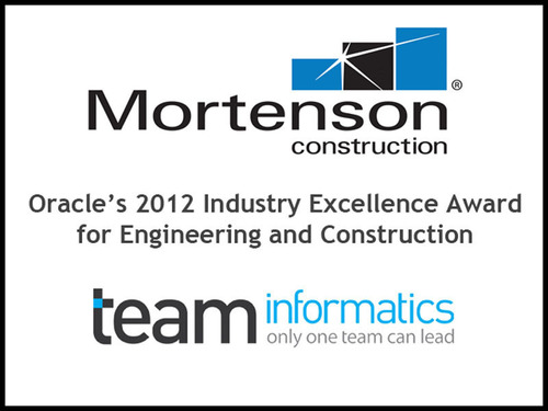 Mortenson Construction wins Engineering and Construction Industry Excellence Award.  (PRNewsFoto/TEAM Informatics, Inc.)