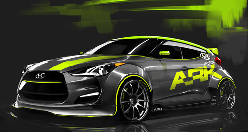 COSTA MESA, Calif., Sept. 29, 2011 - ARK PERFORMANCE TO UNVEIL RALLY-READY HYUNDAI VELOSTER AT SEMA SHOW 2011.  (PRNewsFoto/Hyundai Motor America)