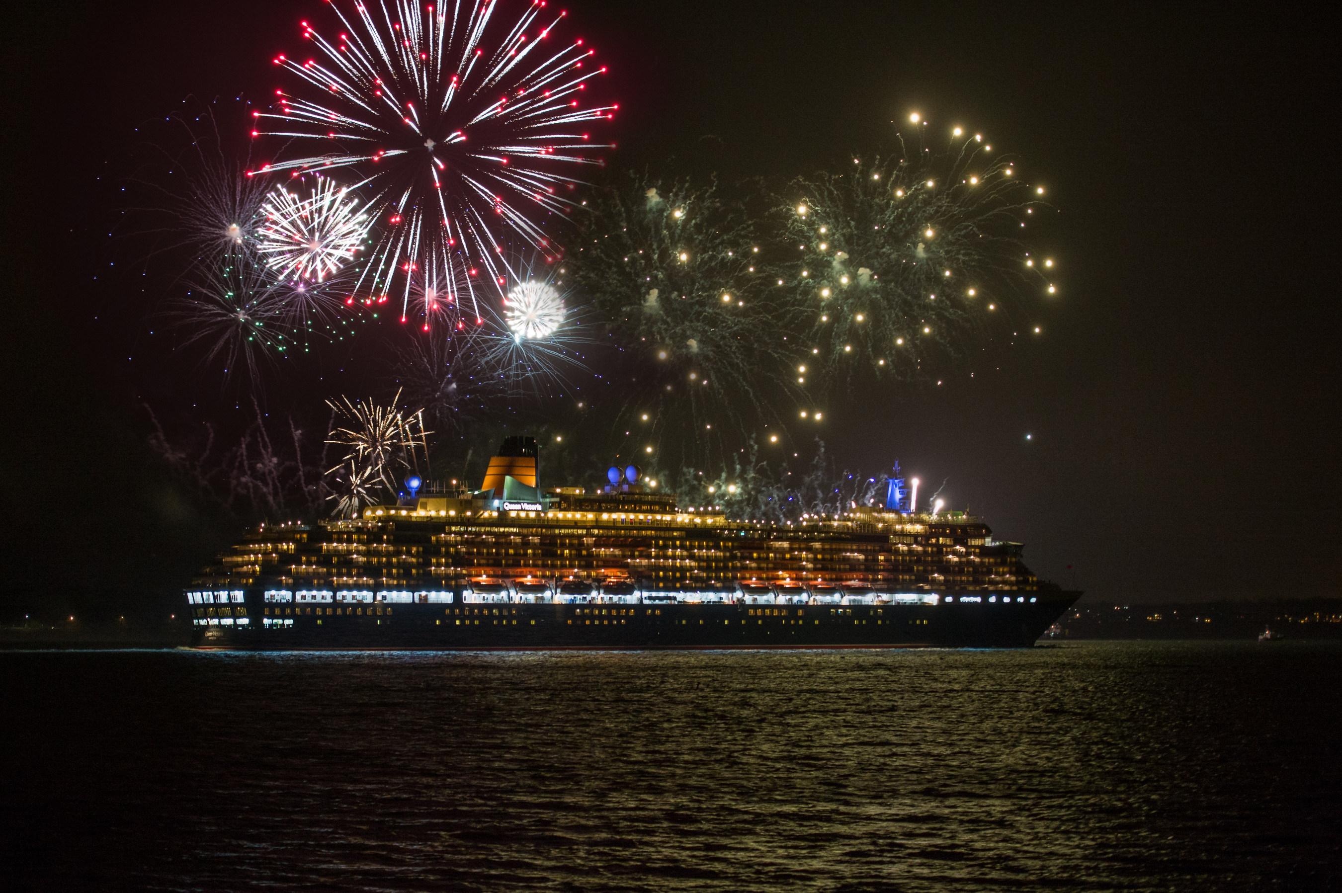 Fireworks as Queen Victoria sets sail from Southampton