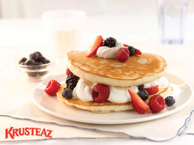 It's National Pancake Month and Krusteaz is ready to help you celebrate! From classic Krusteaz Buttermilk to Heart Healthy and even Chocolate Chip varieties, there are countless ways to celebrate. Visit Krusteaz.com for recipe inspiration and see why pancakes are perfect for any meal of the day.  (PRNewsFoto/Krusteaz)
