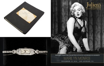 From Top: Marilyn Monroe Personal Address Book and Platinum Diamond Watch