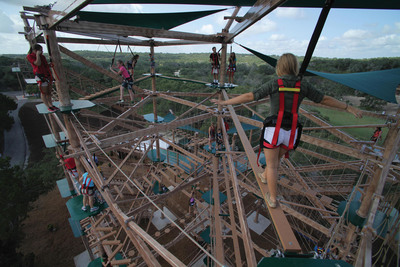 Natural bridge caverns takes to the sky with world s for Texas bridge series