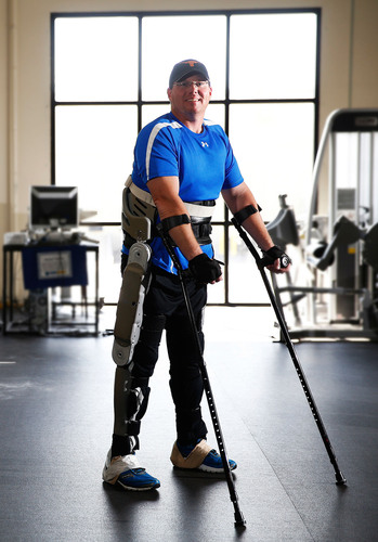 Brian Shaffer standing in the Parker exoskeleton.  (PRNewsFoto/Parker Hannifin Corporation, Photo courtesy of ...