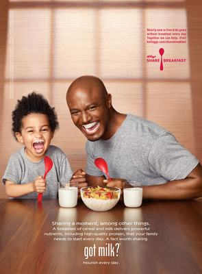 Actor and father Taye Diggs highlights how milk's high-quality protein at breakfast helps his family start  every day in his first-ever Milk Mustache ad.  (PRNewsFoto/Milk Processor Education Program (MilkPEP))