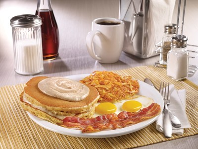 """Denny's new Pumpkin Cream Pancake Breakfast, one of several new menu items from """"America's Diner"""" featuring everyone's favorite fall flavors, features two fluffy pumpkin pancakes layered and topped with tasty pumpkin cream."""