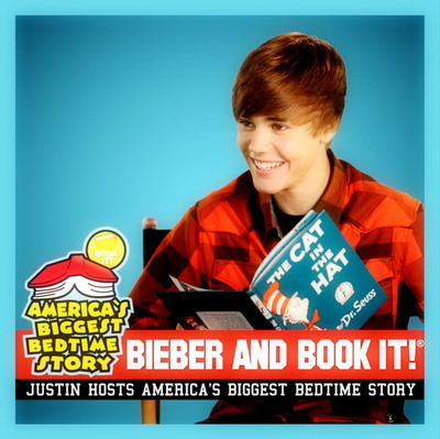 Justin Bieber hosts this year's America's Biggest Bedtime Story sponsored by BOOK IT!.  (PRNewsFoto/Pizza Hut)