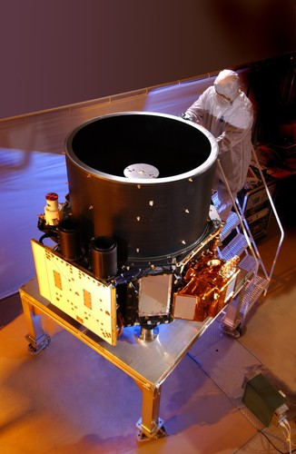 """Ball Aerospace-built CloudSat Spacecraft and CALIPSO Instrument Celebrate Eight Years on-orbit. Ball designed and built the CloudSat spacecraft bus and the CALIPSO instrument that launched April 28, 2006 to join the constellation of spacecraft called the """"A-Train,"""" dedicated to studying the Earth's weather and environment.  (PRNewsFoto/Ball Aerospace & Technologies...)"""