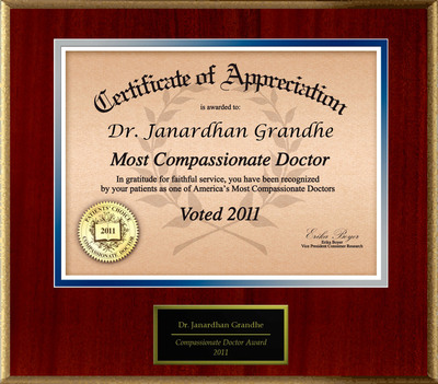 Patients Honor Dr. J. R. Grandhe, M.D., for Compassion.  (PRNewsFoto/American Registry)