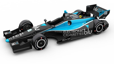 blu eCigs brings sleek new look to Rahal Letterman Lanigan Racing's No. 15 Indy car at Houston Grand Prix.  (PRNewsFoto/blu eCigs)
