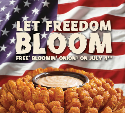 "Free Bloomin' Onion offer valid with any purchase on Thursday, 7/4/13 only. No coupon necessary, say ""Let Freedom Bloom"" to your server to recieve the offer. One per table, per visit.  (PRNewsFoto/Outback Steakhouse)"