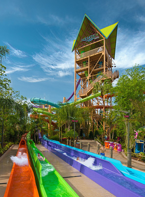 Ihu's Breakaway Falls - Orlando's tallest, steepest and only multi-drop tower slide of its kind is now open at Aquatica Orlando. (PRNewsFoto/Aquatica, SeaWorld's Waterpark)