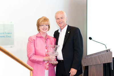 Eileen C. McDonnell, President and Chief Executive Officer of The Penn Mutual Life Insurance Company, (left) was presented with The American College Foundation's highest honor - the President's Award by Dr. Larry Barton, CAP, President and CEO of The American College.  (PRNewsFoto/The American College)
