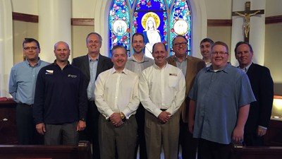 CCUA founding members hosted a meeting on May 9 and 10 at the University of Notre Dame. Left to Right: Robert Kloska (Notre Dame FCU), Alan Watson (Catholic FCU), Denny Solomon (St. Colman & Affiliates FCU), David Sawin (Minnesota Catholic CU), Rob Grech (Alliance Catholic CU), Bill Hann (Parish FCU), Tom Gryp (Notre Dame FCU), Brian Mooney (Ohio Catholic FCU), Brian Smith-Vandergriff (Catholic Family CU), Joseph Garay (Oceanside Christopher FCU). Not Pictured: Mike Taylor (Catholic Family FCU).