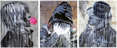 L-R: Hijack (B. 1992 - ) Bubble Gum Girl, 2016, Stencil and Acrylic on Cement, 57 x 45 inches, Splatter, 2016, Stencil and Acrylic on Metal, 57 x 45 inches, Smoke, 2016, Stencil and Acrylic on Drywall, 57 x 45 inches (C) 2016 HIJACK. All Rights Reserved.