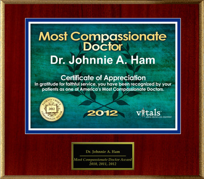 Patients Honor Dr. Johnnie Ham MD for Compassion.  (PRNewsFoto/American Registry)