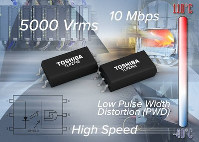 Toshiba's new high speed photocouplers feature low Pulse Width Distortion (PWD) and low power consumption for high speed, high temperature operation.