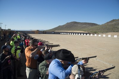 A view from the firing line at the Henry 1000 Man Shoot held at the Ben Avery Shooting Facility in Phoenix, Arizona on Monday, November 14, 2016 where 1000 proud Americans simultaneously fired two shots from a commemorative Henry Golden Boy Silver 1000 Man Edition .22 caliber rifle under the close supervision of the NRA.