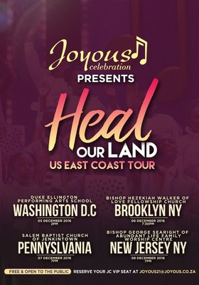 Brand South Africa and Joyous Celebration presents Heal our Land US East Coast Tour 05-10 December 2016