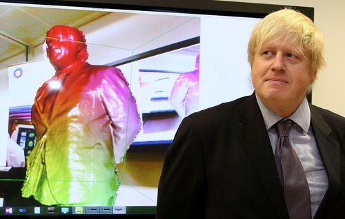 EDITORIAL USE ONLY: Mayor of London Boris Johnson trials a new technological 3 dimensional scanning device,based on a Microsoft Kinect camera, which helps detect Alzheimer's and Parkinson's disease, during the launch of London's Med City at Imperial College. Photo credit: Geoff Caddick/PA (PRNewsFoto/London _ Partners)