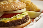 Hooters half-pound cheeseburger and fries platter is offered at $5.99 on Mondays.  (PRNewsFoto/Hooters of America, LLC)
