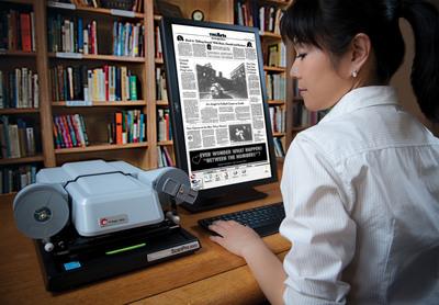 e-ImageData Corp. The ScanPro 2000 microfilm scanner with 24 inch monitor.  (PRNewsFoto/e-ImageData Corp.)