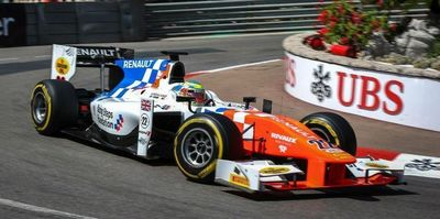 Oliver Rowland in action during a GP2 race