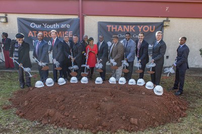 Atlanta Mayor Kasim Reed and Georgia Power leadership, along with representatives from the Atlanta Police Foundation, Atlanta law enforcement and other contributors break ground on the At-Promise Youth Center.