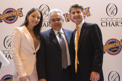 Daniel Nieves - Grupo Char's EVP, Lina Chaar - Grupo Char's Director and Peter Tropoli - Luby's, Inc. COO celebrate a partnership to bring Fuddruckers fast casual brand to Colombia at a recent press conference in South America. The event was also attended by Jeff Hamilton, Commercial Attache U.S. Embassy, Bogota, Colombia