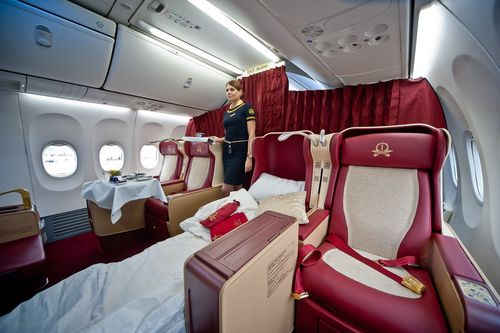Transaero Airlines Imperial Class cabin onboard Boeing 737-800 accommodate four seats that are easily ...