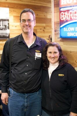 Owner/Operators Larry and Bianca Visk open Dickey's Barbecue Pit in Mount Pleasant on Thursday.