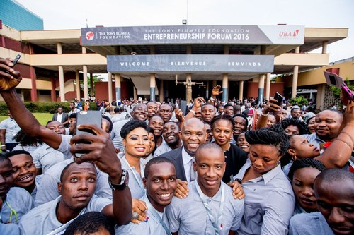 Founder Tony O. Elumelu and Dr. Awele V. Elumelu surrounded by entrepreneurs from 54 African countries at the close of the 2016 Tony Elumelu Foundation Entrepreneurship Forum in Lagos, Nigeria. (PRNewsFoto/The Tony Elumelu Foundation)
