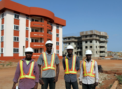 Building in Ghana: Regimanuel Gray Limited construction site using aluminum formwork technology by Wall-Ties & ...
