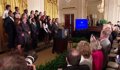 President Barack Obama speaks at the first-ever White House Demo Day. During the event, the U.S. Small Business Administration (SBA) announced the winners of their 2015 Growth Accelerator Fund Competition, including JumpStart, who received a $50,000 prize to launch a new core city accelerator program aimed at helping low-income and minority business owners in Cleveland.