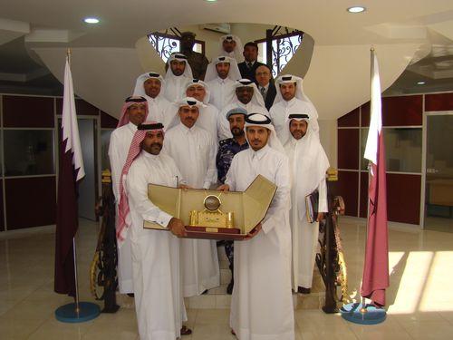 Staff Brigadier (Pilot) Mohammed A. AL-Mannai, Director, Qatar National Security Shield Project (Left) receives  ...