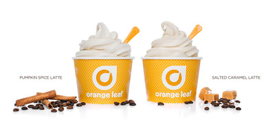 Orange Leaf Frozen Yogurt launches new Salted Caramel Latte froyo and brings back Pumpkin Spice Latte froyo. Try these recipes... Salted Caramel Latte Bliss: Salted Caramel Latte froyo topped with chocolate chips and pretzels, drizzled with caramel sauce, or Pumpkin Spice Latte Heaven: Pumpkin Spice Latte froyo topped with graham cracker crumbs, white chocolate chips and whipped cream and sprinkled with cinnamon