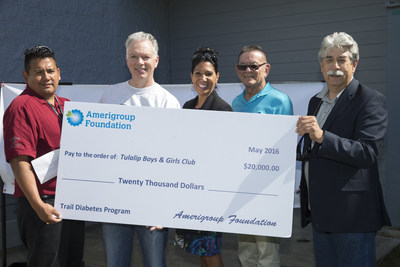 Executives from Amerigroup Foundation present leadership at Boys & Girls Clubs of Snohomish County with a $20,000 grant to support the T.R.A.I.L (Together Raising Awareness for Indian Life) to Diabetes Prevention Program at the Tulalip Club.