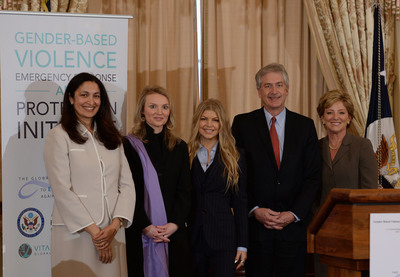 [L to R] Uzra Zeya, Acting Assistant Secretary of State for Democracy, Human Rights and Labor, Alyse Nelson, President and CEO of Vital Voices Global Partnership, Fergie, Avon Foundation Global Ambassador, William Burns, Deputy Secretary of State, and Sheri McCoy, Chairman and CEO of Avon Products, Inc. celebrate the launch of the Global Partnership to End Violence Against Women at the U.S. Department of State.  (PRNewsFoto/Vital Voices Global Partnership)