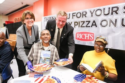 Donna Reeves Collins (left), Rich Products Corporation and Major General Kenneth Dowd, U.S. Army (RET.) serve American Veterans.