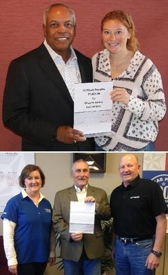 Top: FirstCare President and CEO Darnell Dent (right) and United Way for Greater Austin Corporate Giving Campaign Associate Madison Springgate at FirstCare's corporate headquarters Bottom: FirstCare VP of Sales & Marketing Chuck Walker (center) with Lubbock Area United Way Annual Campaign Director Lynn Owens and Lubbock Area United Way President/CEO Glenn Chocran at FirstCare's offices in Lubbock