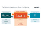 Loom Dataset Management for Hadoop.  Loom automatically tracks and manages dataset lineage for Hadoop.  Auto Scan dynamically profiles datasets, collecting valuable metadata. Lab bench provides data scientists with a lightweight intergace for finding transforming and analyzing data in Hadoop and Hive.  All Loom metadata and functionality is exposed through RESTful APIs.  Integration with R boosts productivity for data scientists.  (PRNewsFoto/Revelytix)