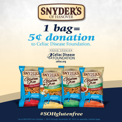 Snyder's of Hanover Donates Portion of Sales to Support Celiac Disease Foundation (PRNewsFoto/Snyder's of Hanover)