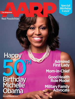 AARP releases special mock cover of AARP The Magazine to celebrate First Lady Michelle Obama's 50th Birthday. (PRNewsFoto/AARP) (PRNewsFoto/AARP)