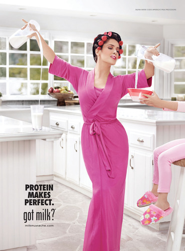 For Salma Hayek, Milk's Protein Makes Perfect - Every Morning.  (PRNewsFoto/MilkPEP)