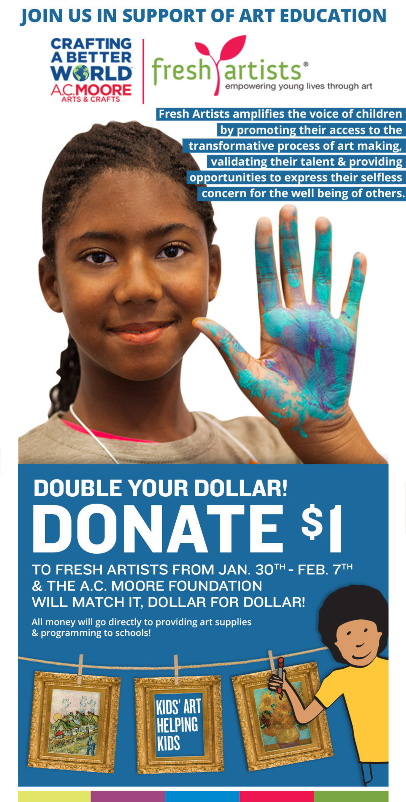 A.C. Moore, leading arts and crafts retailer, has joined forces with Fresh Artists to host a clothesline art sale fundraiser supporting art education in underfunded schools.