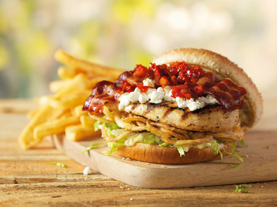 Red Robin Gourmet Burger's new Spring Chicken Burger, available for a limited time, is a tasty combination of fire grilled chicken topped with bacon strips, goat cheese, sweet pepper salsa, crunchy onion straws and lettuce, served with roasted garlic aioli on a whole grain bun.