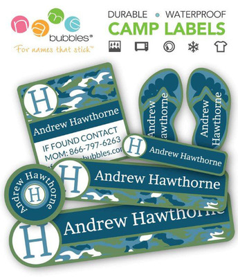 Name Bubbles offers the right solution to prevent items from ending up lost or accidently in another child's bag. Name Bubbles Summer Camp Labels come in a convenient Value Pack that includes a variety of labels that are laundry and dishwasher-safe, waterproof, weatherproof, and resistant to bug repellent, sun block and fading. Kids and parents can select their favorite label styles and personalize them online at NameBubbles.com.