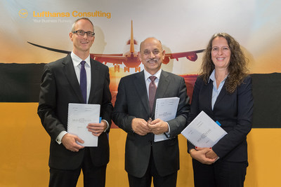 Iraq's Minister of Transport, H.E. Kadoum Finjan Al-Hamami with Dr. Andreas Jahnke, Managing Director, Lufthansa Consulting (left), and the company's Associate Partner Catrin Drawer during the Minister's visit of Lufthansa Group facilities on 2 November 2016 in Frankfurt, Germany. Photographer: Jurgen Mai (PRNewsFoto/Lufthansa Consulting GmbH)