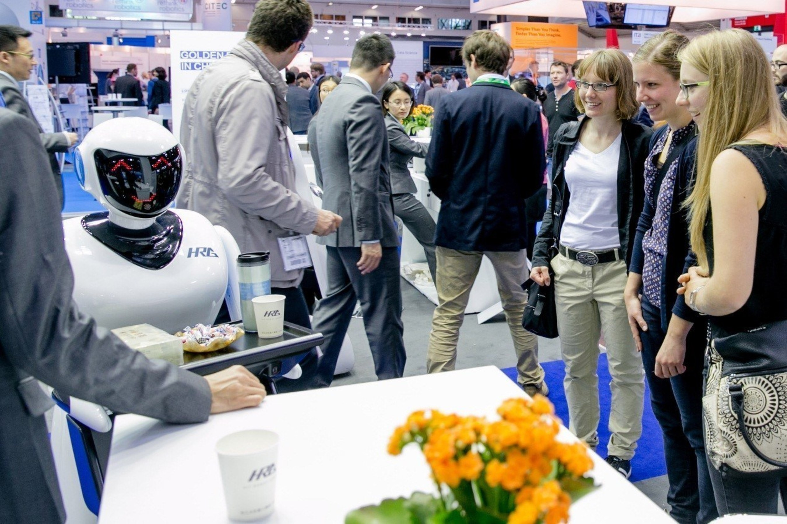 HRG displaying its catering robot, Xiao Zhi, at its booth at Automatica 2016