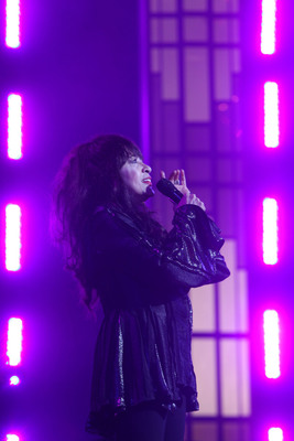 "The legendary Ronnie Spector co-hosts and performs classic 1960s Ronettes hits such as ""Be My Baby"" and ""Baby I Love You"" on MY MUSIC: ROCK, POP & DOO WOP. The special premieres March 5th on PBS. (Photo: TJL).  (PRNewsFoto/TJL Productions)"